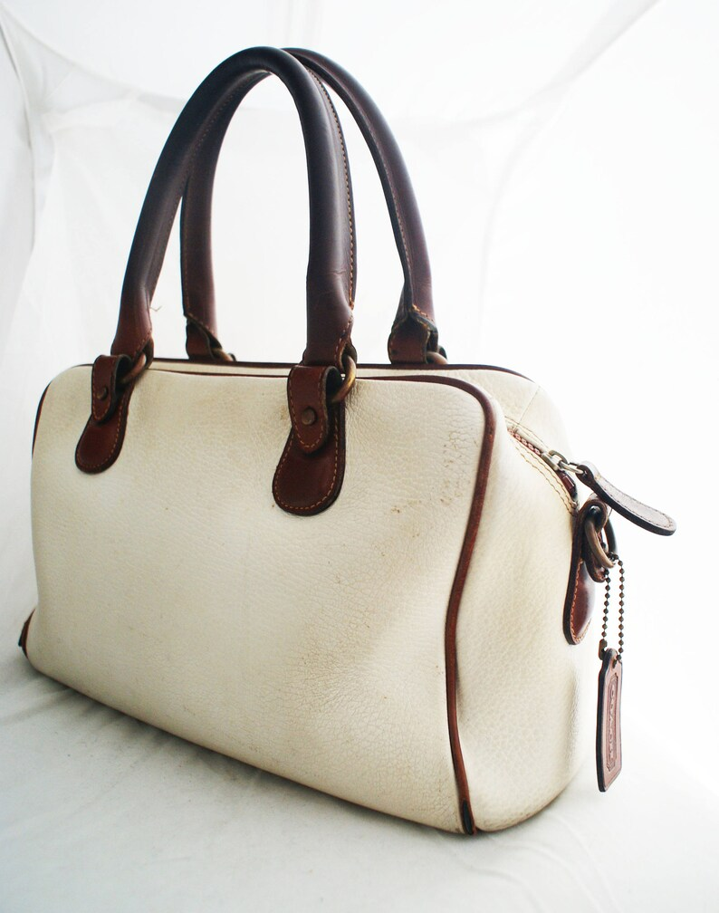 47f00246474b Coach White Brown Leather Broadway Doctors Bag with Top