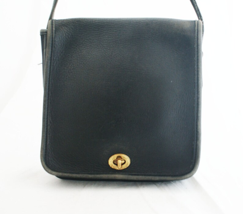 Leather Purse - Small Black COACH Square Shaped short strap bag compact 3a37cdae5ad98