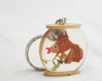 Keychain- Vintage hand carved wood goldfish in fishbowl