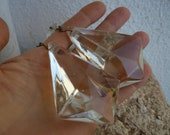 2 antique,cut-glass crystal drops,3 1 4 39 39 length x 2 1 4 39 39 w.with small octaganol prism from 1940s glass chandelier