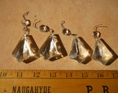lot of 4 antique,cut-glass crystal drops,2 1 4 39 39 length x 1 1 2 39 39 w.with small octaganol prism from 1940s glass chandelier