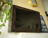 French antique,display box,wooden shadow box,dark,aged wood with patina,glass front,screw on back