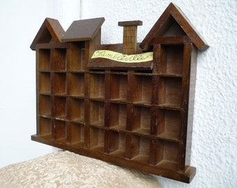 Vintage,wood,thimble Display Cabinet,thimbleville,curio Shelf,house Design,display  Cabinet,wall Or Freestanding.