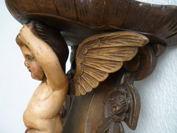 Antico francese intagliato legno policromo alato cherubino & etsy