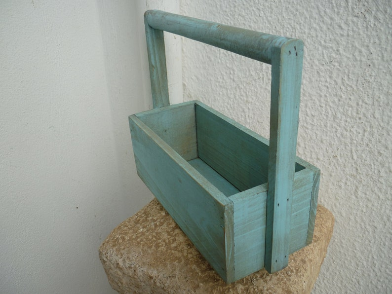 mini,wooden garden trug,small storage box with handle,shabby,vintage French savon,soap label