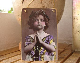 Victorian girl dressed as butterfly -tinted image sealed onto shabby chic wooden tag.