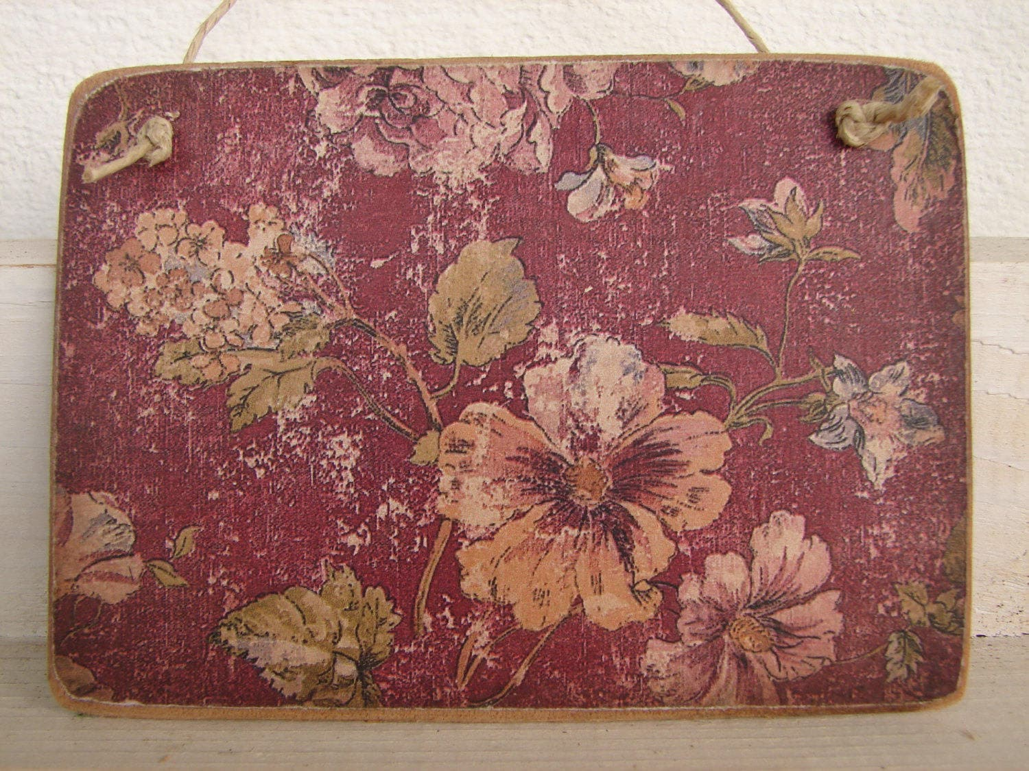 Victorian Style Grungy Floral Wallpaper Image On Wooden Tag Etsy