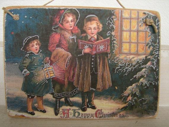 Victorian Children Carol Singing Christmas Image Old Style Etsy