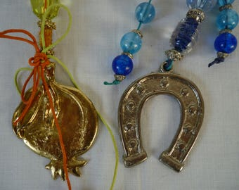 2 vintage Greek good luck charms,pomegranate & horse shoe.New Year,Housewarming gift.
