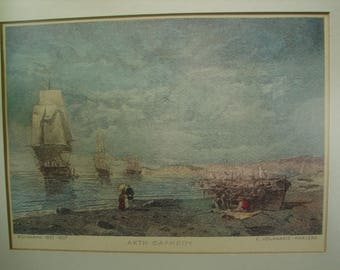 vintage framed print of The shore at Faliro,old masted ships-C.Volanakis-Phalere-wooden framed Greek art