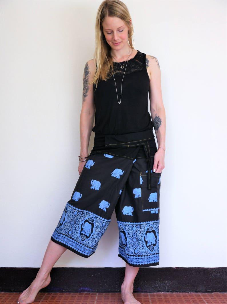 8689426f9 Short Fisherman pants Black w blue elephant. Thai fisherman