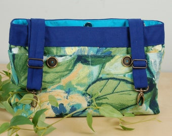 Powerchair bag, Wheelchair purse, Walker Organizer, Wheel Chair Accessory - Soft blue floral bag with turquoise lining.