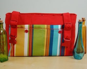 Powerchair Bag, Wheelchair Purse, Walker Organizer, Wheel Chair Accessory:  Bright red and multi colored striped bag. Fun for all ages.
