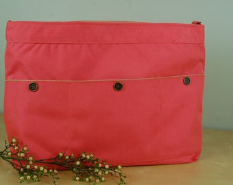 Wheelchair Accessory, Helper's bag, Nursing Assistant's bag: Lovely peach colored bag with tan lining.