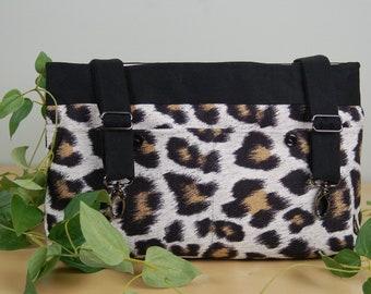 Powerchair bag, Wheelchair purse, Walker Organizer, Wheel Chair Accessory: Cheetah Print bag with pale pink lining.