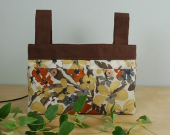 Walker Bag:  Earthy Floral Bag in shades of gold, rust, brown and black, with a chocolate brown lining.