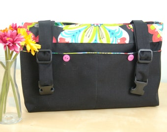 Powerchair bag, Wheelchair purse, Walker Organizer, Wheel Chair Accessory - Black bag with bright and colorful paisley lining.