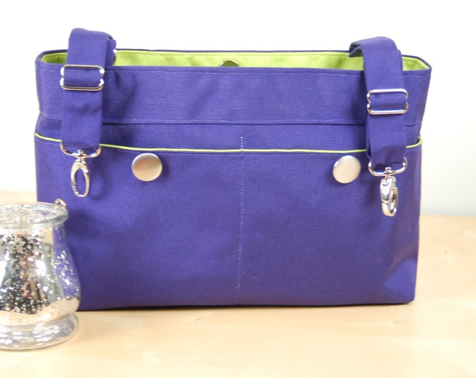 Featured listing image: Powerchair bag, Wheelchair purse, Walker Organizer, Wheel Chair Accessory - Deep Purple bag with lime green lining and silver accents.