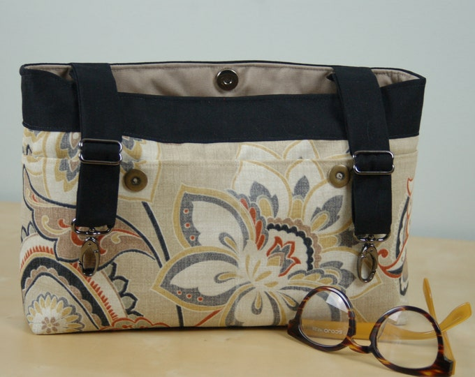 Featured listing image: Powerchair bag, Wheelchair Purse, Walker Organizer, Wheel chair Accessory - Soft Paisley patterned bag in shades of brown.