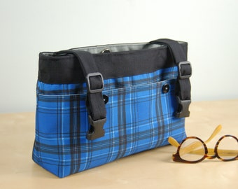 Powerchair Bag, Wheelchair Purse, Walker Organizer, Wheel Chair Accessory: Bold Blue Plaid bag with gray lining.