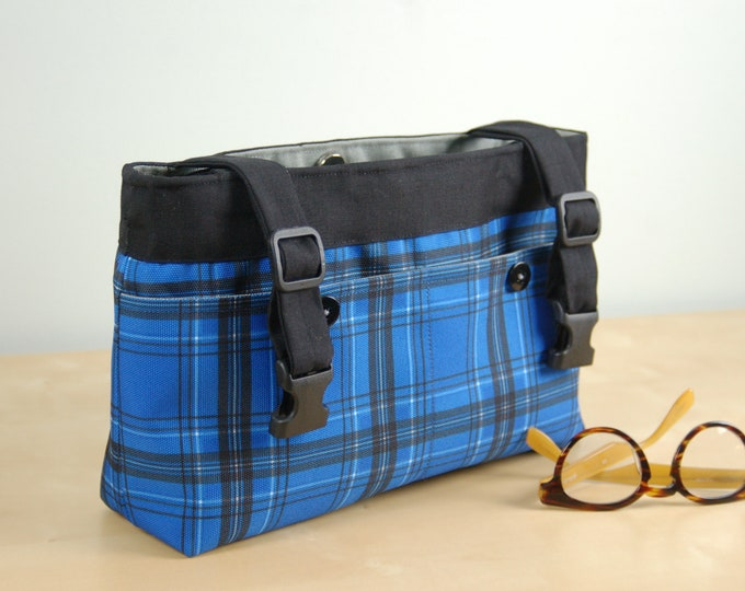 Featured listing image: Powerchair Bag, Wheelchair Purse, Walker Organizer, Wheel Chair Accessory: Bold Blue Plaid bag with gray lining.