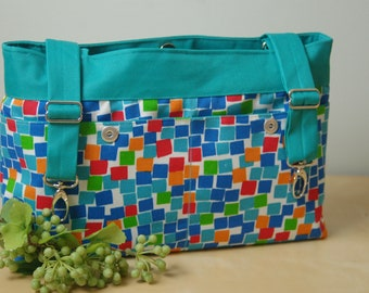 Powerchair bag, Wheelchair purse, Walker organizer, Wheel chair accessory - Bright and Fun Multi=colored bag, with a Turquoise lining.