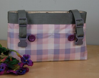 Powerchair bag, wheelchair purse,walker organizer, wheel chair accessory: Soft pink, white and purple plaid bag.  Perfect for Spring!!!