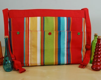 Wheelchair Accessory, Helper's bag, Nursing Assistant's bag: Bright and colorful striped bag to carry daily essentials.