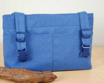 SPECIALLY PRICED  Powerchair Bag, Wheelchair Purse, Walker Organizer, Wheel Chair Accessory: Soft blue chambray bag with taupe lining.