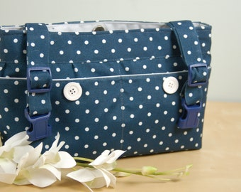 powerchair bag, wheel chair purse, walker organizer, wheelchair accessory -  Stylish distressed Navy Blue and White polka dotted bag.