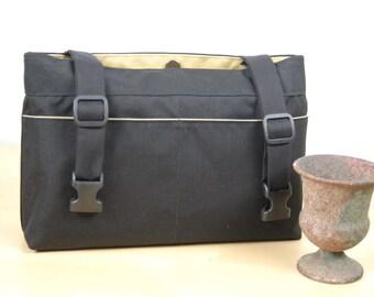 Powerchair bag, Wheelchair purse, Walker Organizer, Wheel Chair Accessory - Plain and Simple.  Black bag with beige lining.