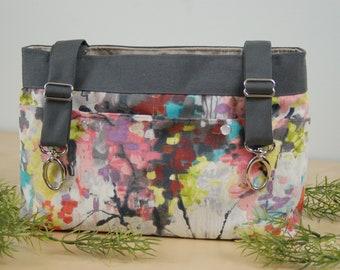Powerchair bag, Wheelchair purse, Walker Organizer, Wheel Chair Accessory - Soft multi-colored print bag.