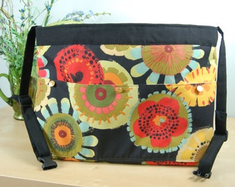 Wheelchair Accessory, Helper's bag, Nursing Assistant's bag: Fun and Lively floral Print bag with khaki colored lining.