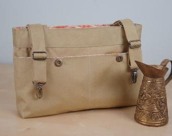 Powerchair bag, Wheelchair purse, Walker Organizer, Wheel Chair Accessory - Khaki Bag with Peach paisley lining.