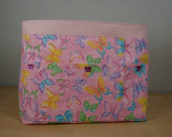Wheelchair Accessory, Helper's Bag, Nurses Assistants' Bag - Soft Pink Glittery Butterflies with a pink lining.