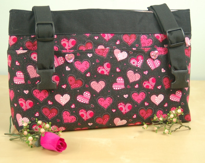 Featured listing image: powerchair bag, wheelchair purse, walker organizer, wheel chair accessory - Lots of Hearts