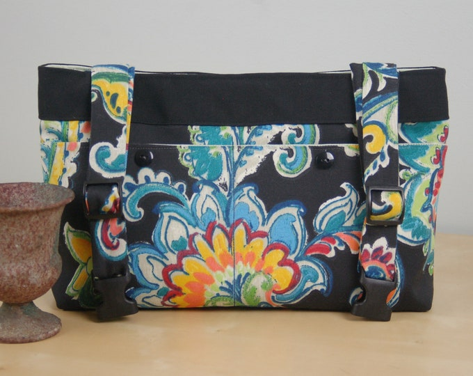 Featured listing image: Powerchair bag, Wheelchair purse, Walker Organizer, Wheel Chair Accessory - Bold Paisley Patterned bag with pale green lining.