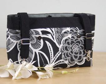 Powerchair bag, Wheelchair purse, Walker Organizer, Wheel Chair Accessory - Bold Black, White and Gray Floral print bag.