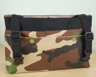 """Powerchair bag, Wheelchair purse, Walker Organizer, Wheel Chair Accessory - """"Camo"""" bag with tan lining."""