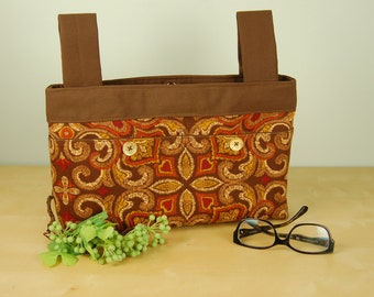 Walker Bag:  Rich and Rustic Paisley Patterned Bag with Chocolate Brown lining.