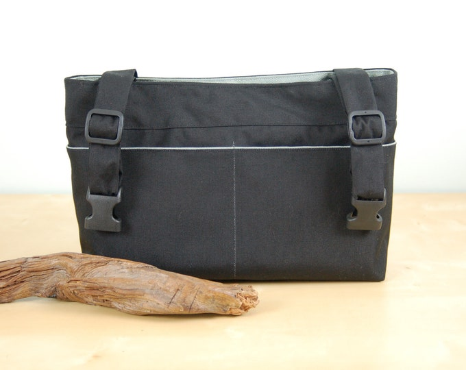 Featured listing image: Powerchair bag, Wheelchair purse, Walker Organizer, Wheel Chair Accessory - Plain and simple, black bag with gray lining.