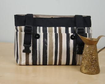 Powerchair bag, Wheelchair Purse, Walker Organizer, Wheel chair Accessory - Black, beige and brown striped bag, with beige lining.