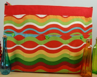 Wheelchair Accessory, Helper's bag, Nursing Assistant's bag:  Colorful Striped Bag with a red lining