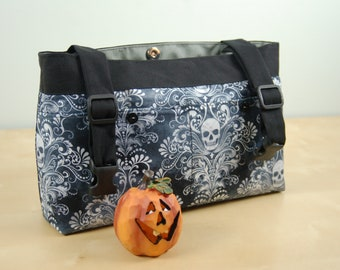 Powerchair bag, Wheelchair purse, Walker organizer, Wheel chair accessory - Black and White Skull print with gray lining.