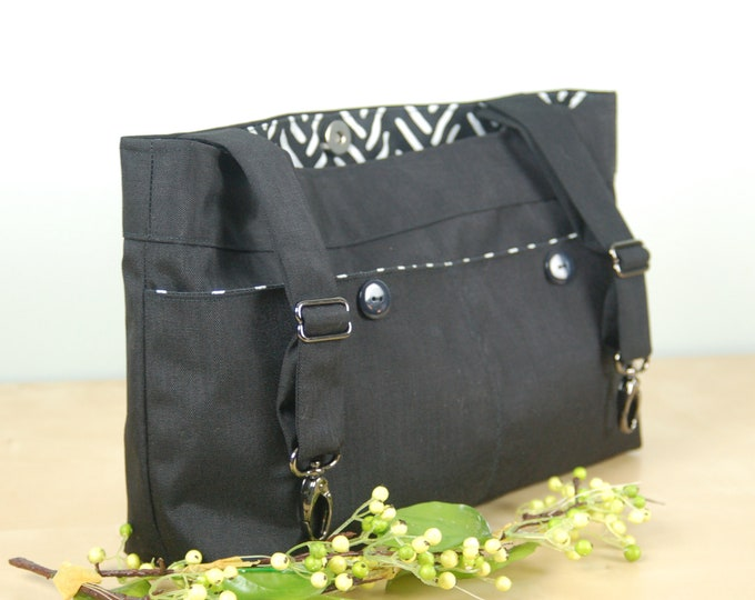 Featured listing image: Powerchair bag, Wheelchair purse, Walker Organizer, Wheel Chair Accessory - Bold Black, White and Gray Floral print bag.