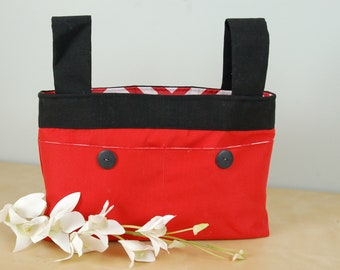 Walker Bag:  Bright Red bag with black accents and straps.  Red and white chevron lining.