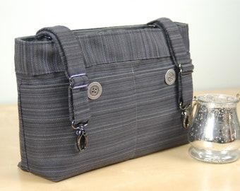 Powerchair bag, Wheelchair Purse, Walker Organizer, Wheel chair Accessory:  Black Woven Bag with dark gray lining.
