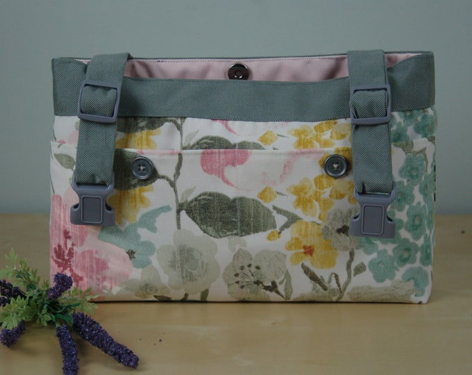 Featured listing image: powerchair bag, wheelchair purse, walker organizer, wheel chair accessory: Muted Floral bag with soft pink lining.