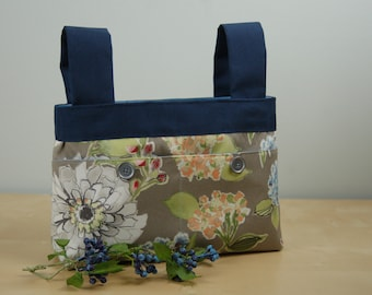 Walker Bag: Gray floral bag with a periwinkle lining.