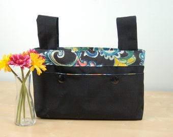 Walker Bag: Classic black bag with floral paisley lining and accents.